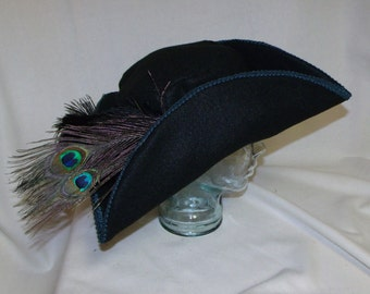 Black Felt Pirate Hat- Classic Tricorn with Green Trim and Peacock Feathers