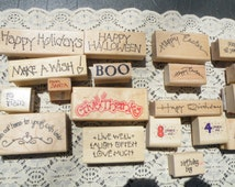 50% of this item, enter LOVE99 at checkout.  Huge Lot of Word Mounted Rubber Stamps, Set of 47, Words, Rubber Stamp, Scrapbooking Supplies