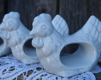 50% off this item, enter LOVE99 at checkout, V i n t a g e White Chicken Napkin Holders, Country Napkin Holders, Napkin Holder, Home Decor