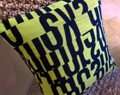 "Letters MCM Decorative Throw Pillow Cover -  Sun Yellow - Gunnar Aagaard Anderson - Choose your Size - Shown w/20"" insert"