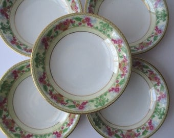 Vintage Czechoslovakia Pink Green Floral Berry Bowls Set of Five