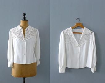Vintage lace blouse. 60s scallopped lace white blouse
