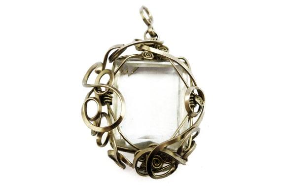 Wire Wrap Romantic Pendant with Faceted Rock Crystal - Art Nouveau Pendant - German Silver Wire - Square Pendant