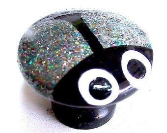 CABINET KNOBS Dresser Drawer Pulls HARDWARE Sparkly Silver and Multi-color Glitter Beetle Bug Scarab