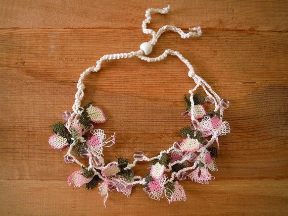 pink necklace with needle lace flowers