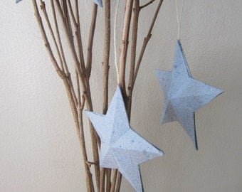 Handmade Paper 3D Ornament Star - Blue 3D Star Hang Tags - Recycled Home Decoration