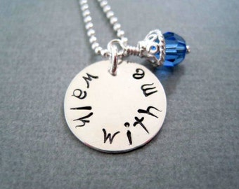 Walk with me-inspirational pendant-custom hand stamped-sterling silver-personalized jewelry-womans girls necklace-sapphire crystal
