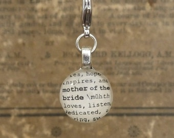 Mother of the Bride Dictionary Charm for a Bouquet Bookmark Keychain Necklace Bracelet by Kristin Victoria Designs