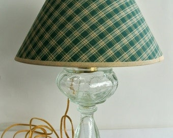 "Converted- Antique Kerosene ""Lantern"" Lamp with Green Checkered Shade"
