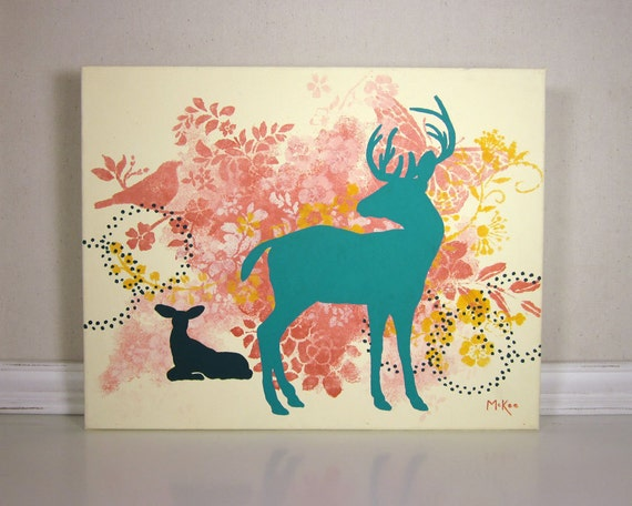 Modern Deer Wall Decor, Acrylic Painting, Coral and Teal
