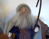 Father Christmas / St. Nicolas in Hooded Cape and Staff  -1991 - by Oregon Artist Linda Soeby - 2 of 2