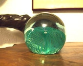 Teal Feathered OBG (Ornamental Blown Glass) 1986 Art Glass Paperweight