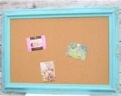 LaRGE DECORATIVE CORK BOARD For Sale Baroque Robin's Egg Blue Wedding Memo Board Shabby Chic Home Message Board Home Organizer Bridal Gift