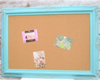 LaRGE DECORATIVE CORK BOARD For Sale Baroque Robin's Egg Blue Wedding Memo Board Shabby Chic Home Message Board Home Organizer Bridal Gift