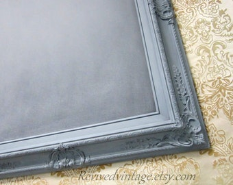 "Pewter GRAY FRAMED CHALKBOARD Home Decor Kitchen Decor Office Organizer 31""x 27"" Grey framed French Country Framed Chalkboard Chalk board"