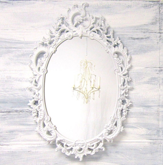 ORNATE WHITE MIRROR For Sale Baby Nnursery Decor Unique Vintage White Framed Oval Shabby Chic Decor