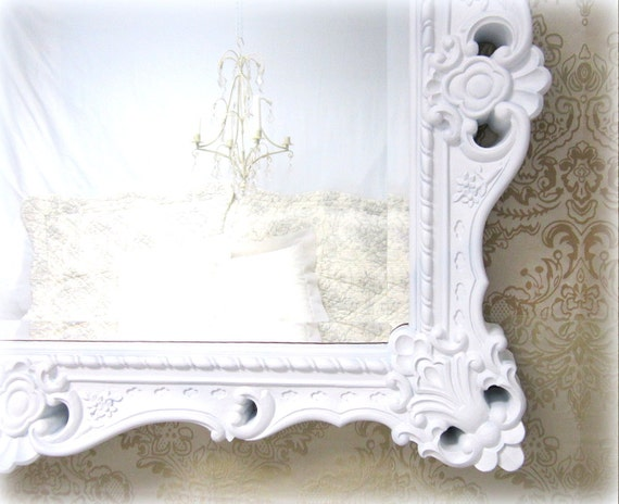 Any color large white framed baroque mirror for Baroque mirror canada