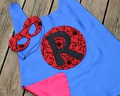 PERSONALIZED SPIDERMAN CAPE and Spider Hero Mask Set - Includes customized hero cape plus coordinating superhero mask - Superhero costume
