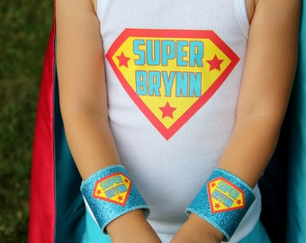 Childrens CUSTOMIZED T Shirt transfer iron on decal + Kids PERSONALIZED Sparkle Wrist Cuffs