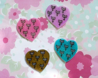 Feminist cat Heart Brooch, Holographic glitter, kitty Riot Grrrl Pin, tumblr, 90's pin style, 90's kid fashion