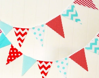 Party Banner, Bunting, Fabric Pennant Flags, Aqua Blue, Red, White Party, Chevron, Boy Nursery, Baby Shower Banner, Photo Shoot Prop