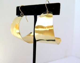 Extra wide brass hoops, wide gold J hoop earrings, artisan crafted tribal earrings, gift under 30