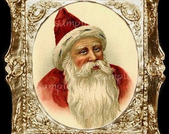 Victorian Christmas Santa Miniature Dollhouse Art Picture  1657