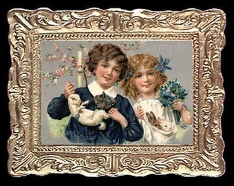 Easter Kids Miniature Dollhouse Picture Art Picture 6837