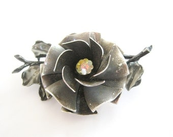 Vintage Silver and Black Tone Large Detailed Flower Brooch from Coro