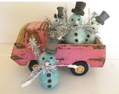 RESERVED FOR KIMBERLEE_Set of Four Vintage Spun Cotton Snowmen - Hand Dyed