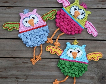 OLWBERTA - Owl Crochet Pattern (Applique), PDF in English, Deutsch