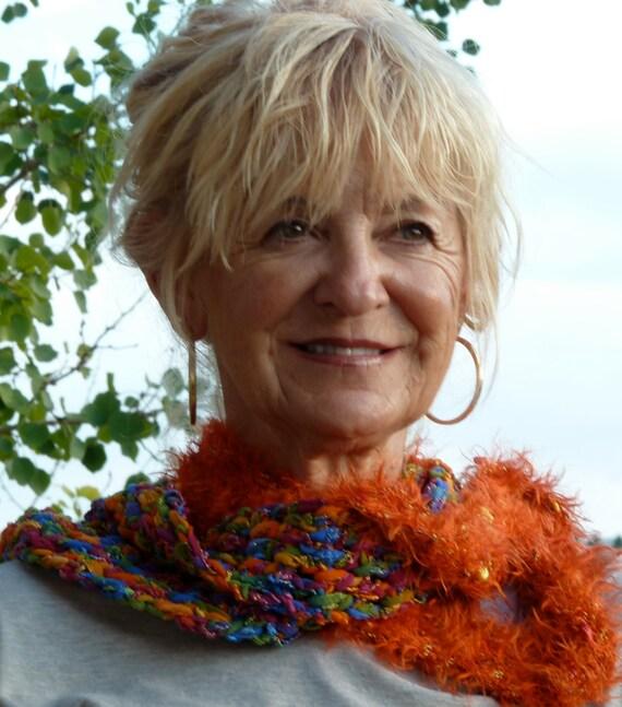 Scarf Women's crochet Scarf Women's Fashion orange winter accessories