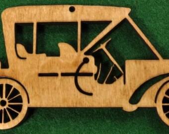 Wood Antique Car Ornament