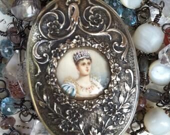 Sold-JOSEPHINE - Five Strand Necklace with Superb Silver Portrait Miniature Slide Locket