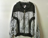 Vintage 80s Windbreaker Black and White Animal Print Size Medium