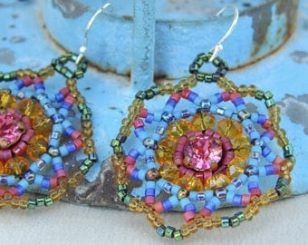 Summer Garden Indian Pink Swarovski Crystal Bead Woven Earrings