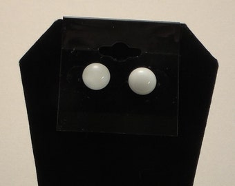 Fused Glass Small White Post Earrings