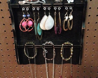 Upcycled Jewelry Holder Organizing Display (Black Spoon Holder)
