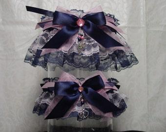 Navy Blue and Pink Wedding Garter Set