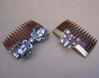 Vintage Hair combs 2 Hollywood Regency butterfly hair comb hair accessories hair pin hair pick hair jewelry hair ornament headdress(e)