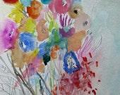 Skip Along- Original Floral Painting- 11x15- Fresh Abstraction