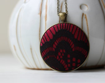 Red Gothic Necklace, Black and Red Jewelry, Art Deco Jewelry, Black Lace Necklace, Art Nouveau Necklace Black Pendant, Burgundy Goth Jewelry