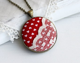 Hearts Necklace with Lace, Valentine Jewelry Valentine's Day Necklace Red And White Heart Necklace Red Heart Jewelry, Red Pendant