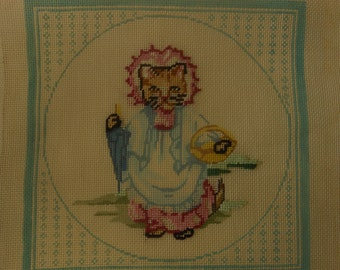 Vintage neeldlepoint canvas unfinished needlepoint canvas kitty cat in a dress needlepint 9 inches square.