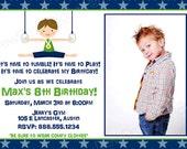 BOYS Gymnastics Birthday Party Invitation Invite Photo Card YOU PRINT Digital Invite Tumbling