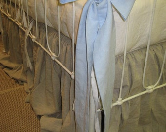 Washed Linen Ruffled Crib Bedding -Ruffled Bumpers, Crib Skirt, Tiny Ties, Over Sized Sash Separates, Crib Pillow