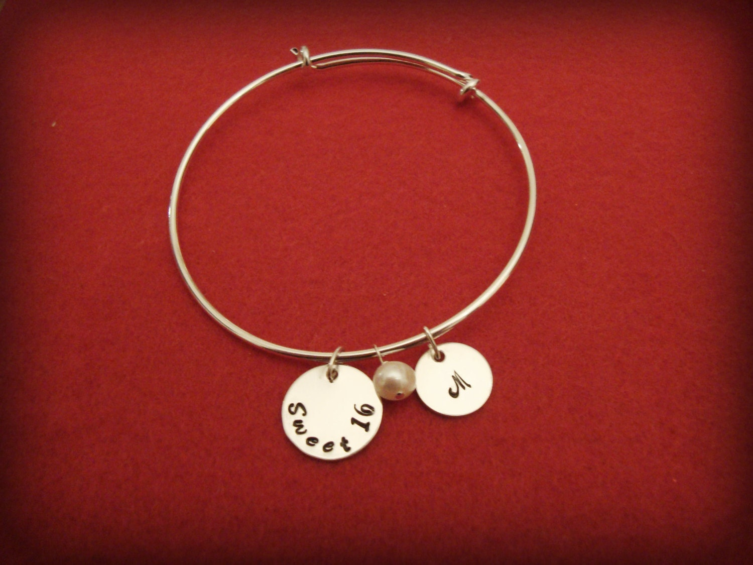 Sterling Silver Sweet 16 Hand Stamped Discs on Shiny Silver-Plated Wire