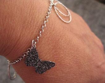 Silver Charm Bracelet, Silver Circle Bracelet, Elegant Butterfly Bracelet, Butterfly Charm, Silver Eternity Circle, Dangle Infinity Charms