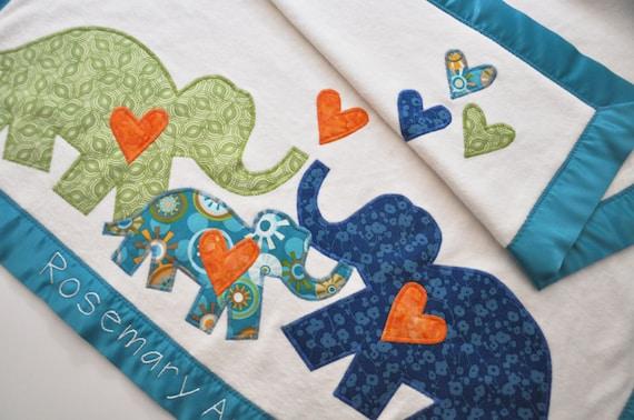 Hip Organic Elephant Baby Blanket -- Personalized Free -- Eco New Baby Gift