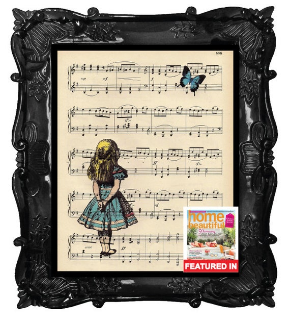 Alice in Wonderland art print - Alice gazing at blue butterfly poster wall art on antique book page music dictionary page